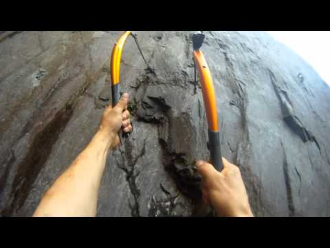 Ibex m8 Dry Tooling route in North Wales slate quarry Dinorwig