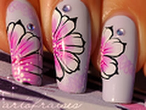 Nail art one stroke style russe / how to do russian one stroke nail art