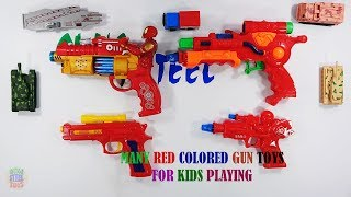 Box Of Many Red Colored Gun Toys  Playing - Guns Toys Video For Kids And Son