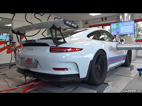 Porsche 991 GT3 RS with Akrapovic Exhaust Dyno Runs - Blue Flames & Sounds!