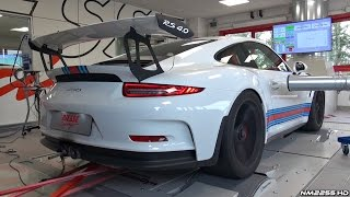 Porsche 991 GT3 RS with Akrapovic Exhaust Dyno Runs - Blue Flames & Sounds!
