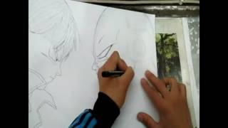 Drawing manga trunks vs freezer