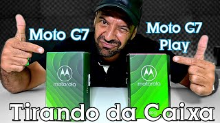 Moto G7 Play e Moto G7 Tirando da caixa.