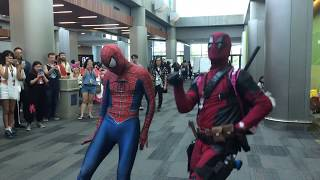 Deadpool and Spiderman Dance at Anime Convention