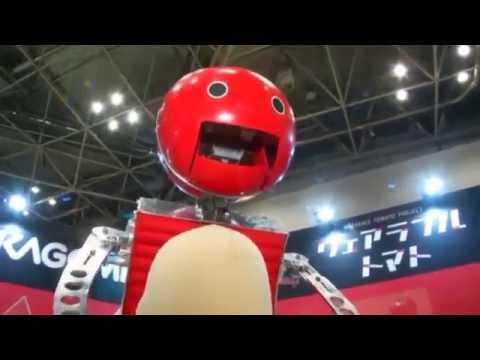 Wearable tomatoes offered to Tokyo Marathon runners by Robot