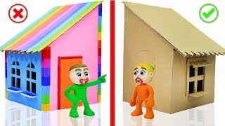 SUPERHERO BABY PLAYS CARDBOARD PLAYHOUSE 💖 Play Doh Stop Motion Cartoons