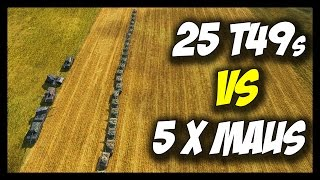 ► World of Tanks: Maus x 5 vs 25 T49s - Jumping, Ramming, Fails, Pit Fight! - Face Off #14