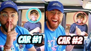 Identical Twins 2-Car Fast Food Drive Thru Challenge!
