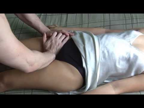 Thigh and Hip Massage in satin nightgown on Asian girl