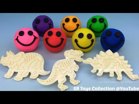 Play Doh Smiley Face with Dinosaur Fossil Stampers Fun and Creative for Kids