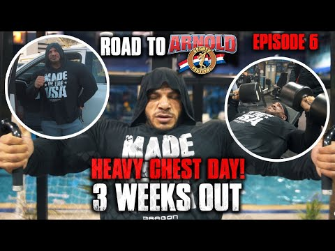 BIG RAMY AT 3 WEEKS OUT | HEAVY CHEST DAY | ROAD TO ARNOLD EPISODE 6