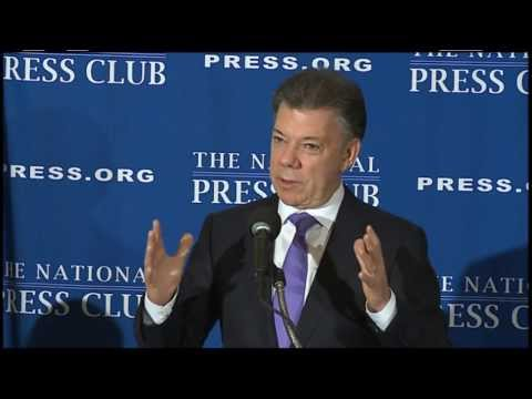 Juan Manuel Santos, President of Colombia, speaks at The National Press Club - Dec. 3, 2013