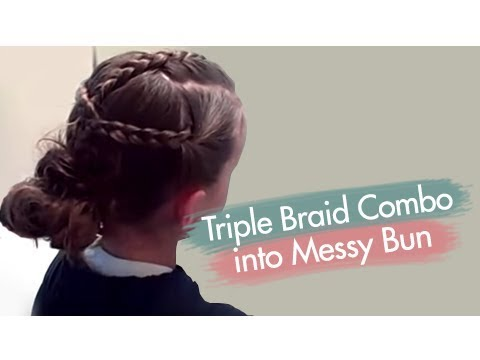 Bring all three back and braid them together and form a low messy bun.