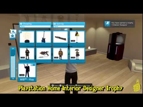 """Playstation Home: """"Interior Designer"""" Trophy (Where to find Free Items) - HTG"""