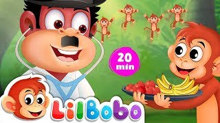Five Little Monkeys Jumping On The Bed | Popular Nursery Rhymes Playlist | Little BoBo - FlickBox