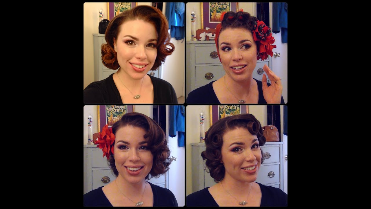 Easy 50's Pin Curl Styles for Shoulder Length Hair - YouTube