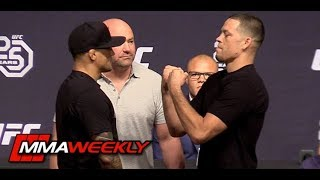 Nate Diaz No Shows Face-Off Then Has Staredown with Dustin Poirier (UFC 25th Anniversary)