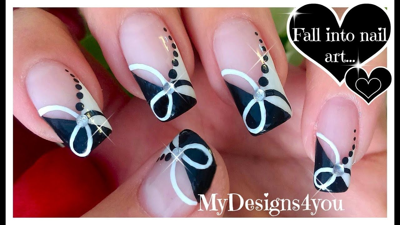 Чёрно белый дизайн ногтей фото