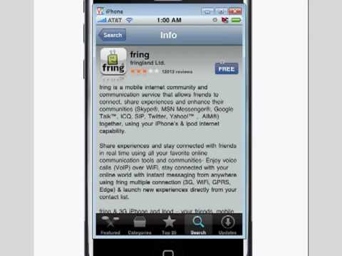 Fring the iPhone or iPod Touch and Global Freedom Phone SIP VOIP