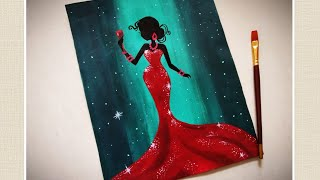 Lady in Red Dress Painting tutorial for beginners ||Wine glass painting|| woman in Party Painting