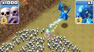 1000 SKELETONS vs ELECTRO DRAGON - Clash Of Clans - MASS GAME PLAY 2018!
