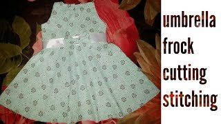 simple and stylish kids umbrella frock for baby cutting and stitching Eid casual wear frock