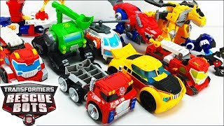 Transformers Rescue Bots Toy Collection With Bumblebee Heatwave Boulder Blades Chase & Optimus Prime