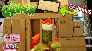 WE TRAPPED THE GRINCH IN BOX FORT JAIL FOR 24 HOURS! HE FOUND AN L.O.L. SURPRISE UNDER WRAPS!