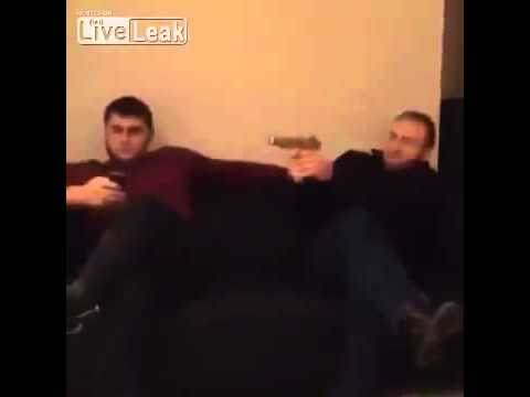 Crazy Chechen Shooting Inside House With Pistol