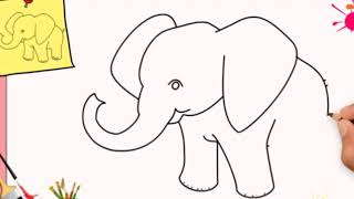 How to draw elefant for kid, painting and drawing elefant for kids