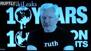 Assange speaks at WikiLeaks' 10th anniversary in Berlin