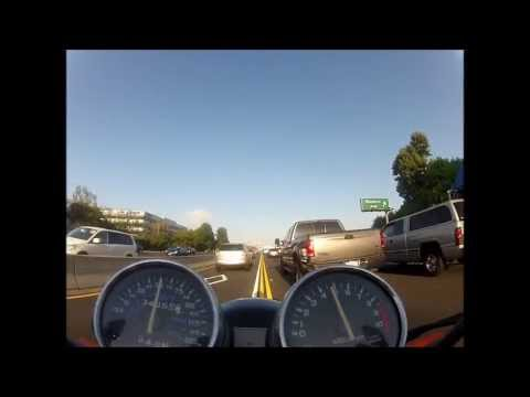 California Lane Splitting on the 405 - Honda Nighthawk 750 - High Speed!!!