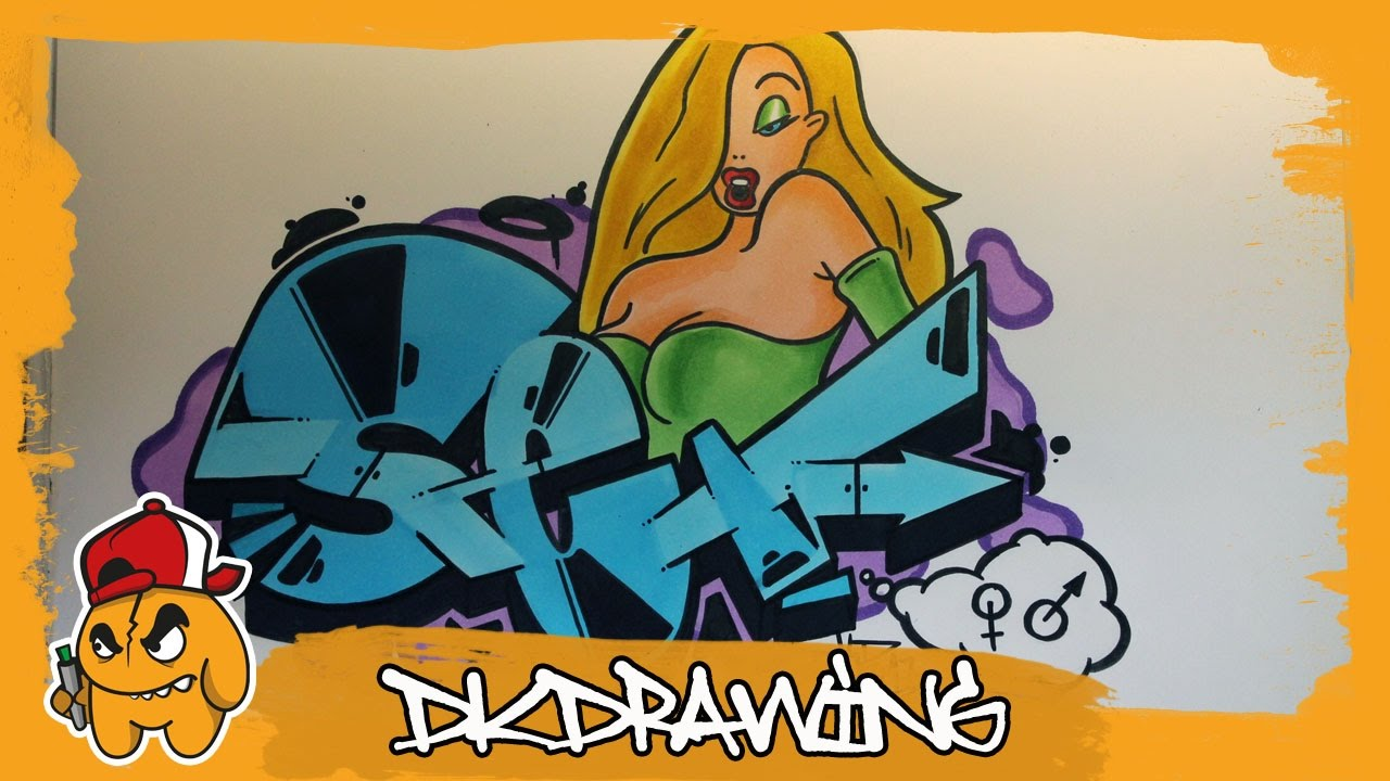 How to draw graffiti girl characters