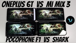 OnePlus 6T vs Pocophone F1 vs Xiaomi Mi Mix 3 vs Black Shark Gaming comparison/Damon PS2 Games