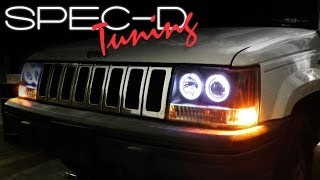 SPECDTUNING INSTALLATION VIDEO: 1993-1998 JEEP GRAND CHEROKEE 1PC PROJECTOR HEADLIGHTS