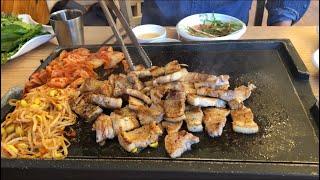  Tập 146  Đi ăn thịt nướng ở quán Hàn Quốc tên là THỜI ĐẠI THỊT NƯỚNG.SAMGYEOPSAL GUI MUKBANG.