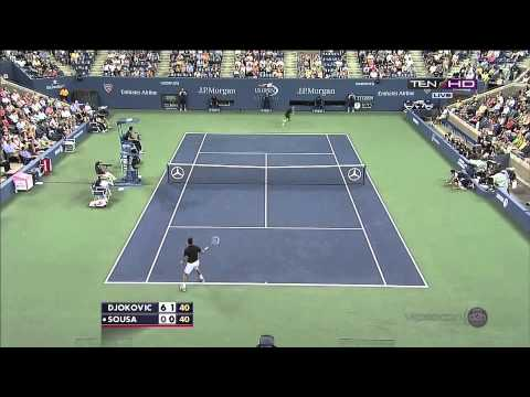 Joao Sousa vs  Novak Djokovic - US OPEN 2013 - Joao's best shots