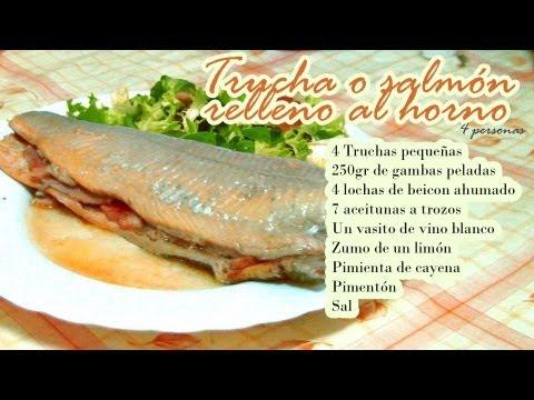 Trucha o salmón relleno al horno
