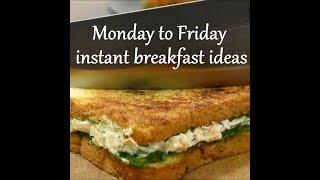 Monday to Friday Easy breakfast recipes | weekdays breakfast ideas |Indian instant breakfast recipes