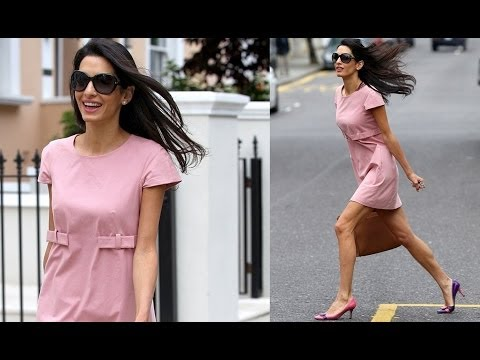 George Clooney Fiancée Amal Alamuddin Puts on a Leggy Display in Pretty Pink Dress