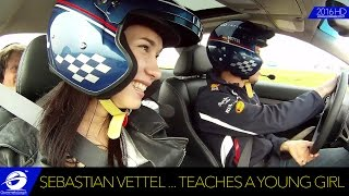 Sebastian Vettel Driving Instructor: HOW TO DRIVE A CAR, Teaches a Young Girl