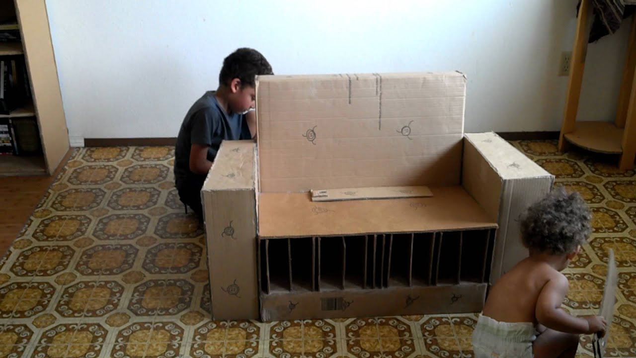 Cardboard Couch Made For Adults And Children Part2 Youtube