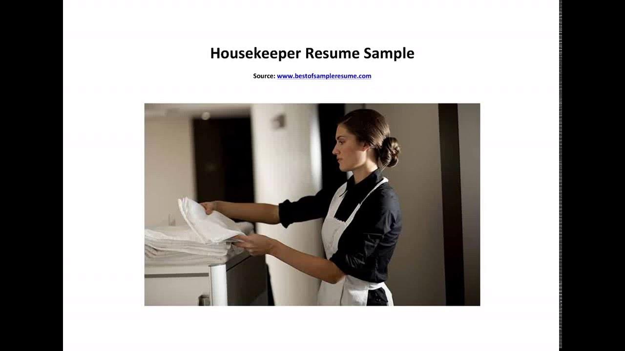 Housekeeper resume example