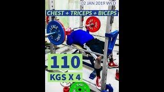 Incline Bench Press 110 kgs x 4 reps   #rhinomight #powerbuilding #bodybuilding