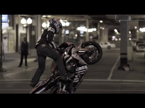 Stunt Motorcyclist In Downtown Chicago   Red Bull Night Tracks