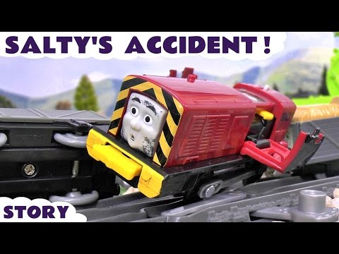 Thomas and Friends train accident crash and rescue by Play Doh Diggin Rigs toys Salty toy story
