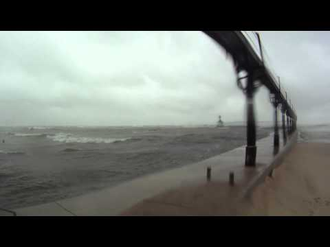 More HUGE Waves on Lake Michigan 10/20/11 Michigan City Indiana with GoPro and iPhone 4S