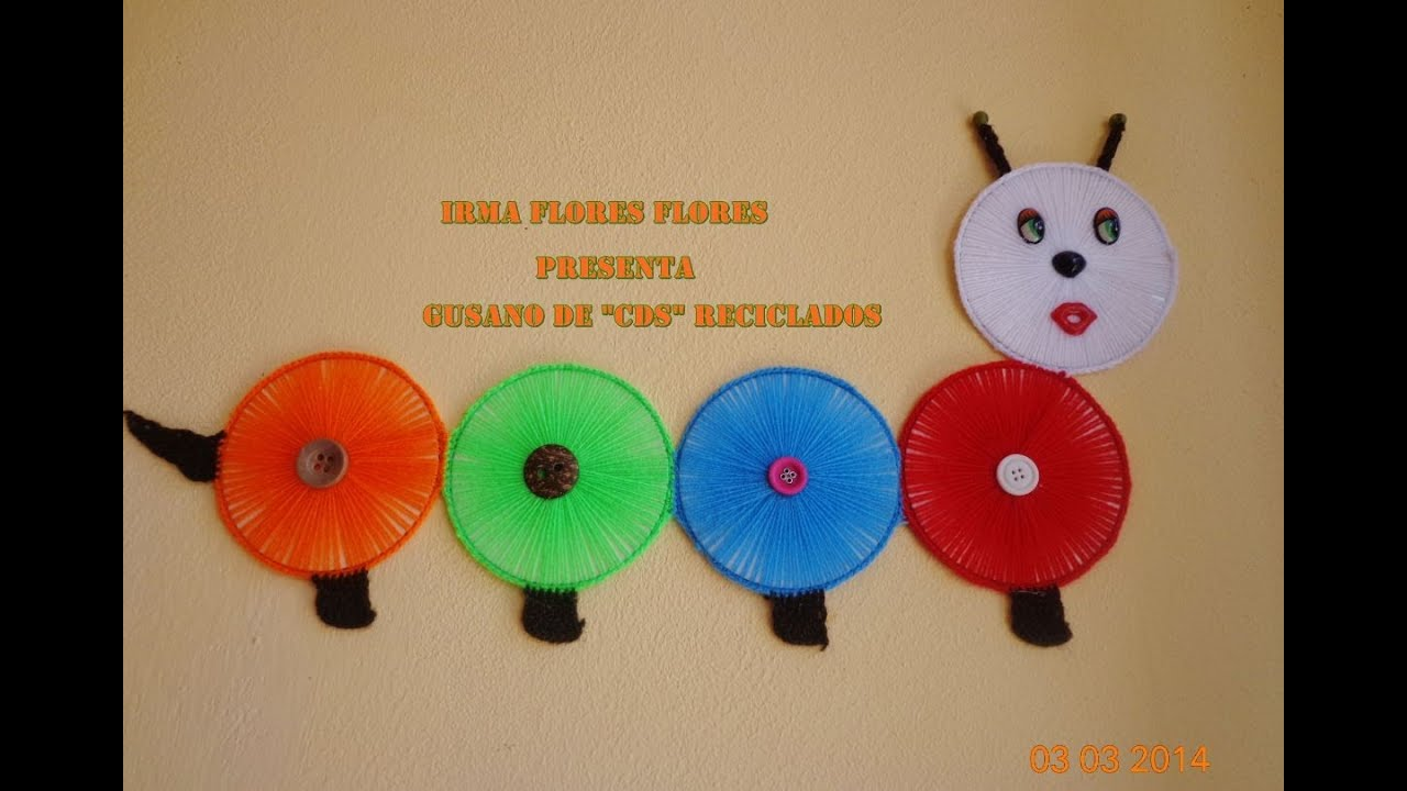 Gusano de cds reciclados youtube - Manualidades con discos ...