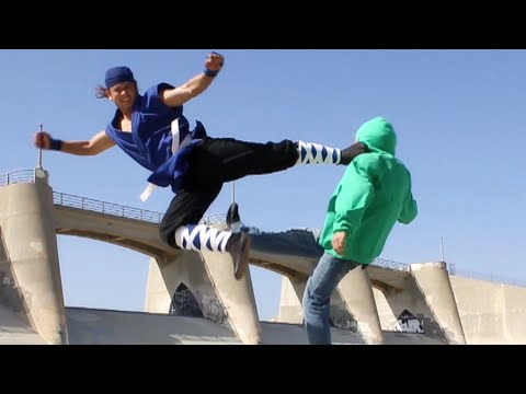 Karate Guy Vs Street Gang Fight Scene (tekken   Ong Bak Style, Real Hits) video