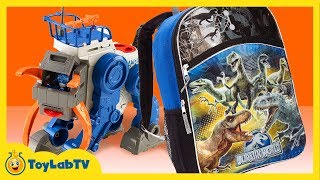 Imaginext Alpha Walker & Jurassic World Backpack with Surprise Toys Hero Mashers from ToyLabTV